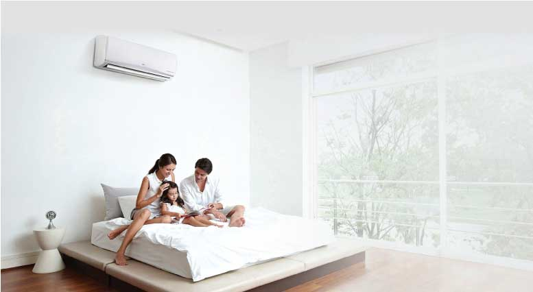 Family Enjoying the air conditioner together